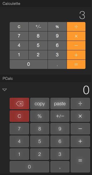 Avant que vous ne disiez «oui mais sur le widget de PCalc, il y a des boutons copier et coller ! », essayez donc ⌘C et ⌘V sur le widget Calculette d'Apple.