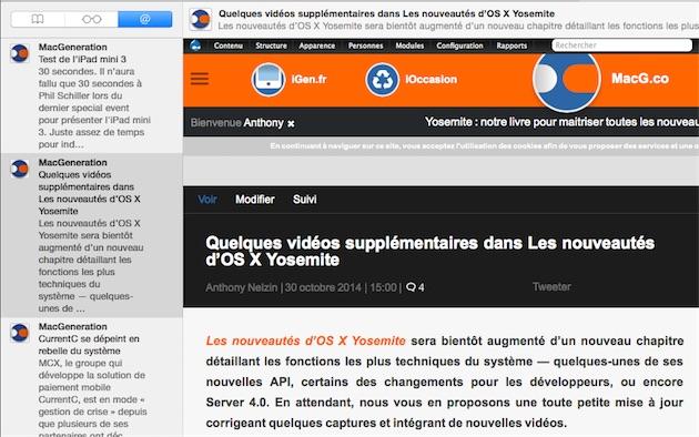 Comme lorsque vous cliquez sur un lien partagé, une barre apparaît en haut de la page lorsque vous naviguez depuis les flux RSS.