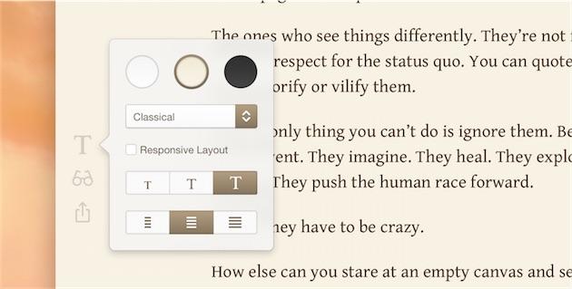 Les options de formatage de Typed, qui disparaissent lorsque l'on tape. On peut ajouter un compteur de signes/mots en haut à droite de la fenêtre.