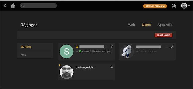 Le nouveau panneau «User»de Plex Home.