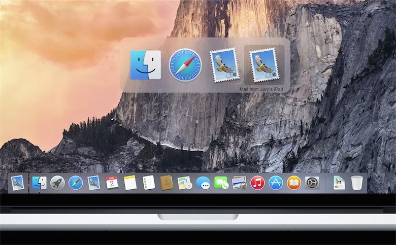 Handoff dans le task switcher d'OS X.