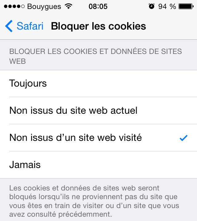 Dans iOS 8. Notez bien la porte ouverte : seront installés les cookies «du site web qu