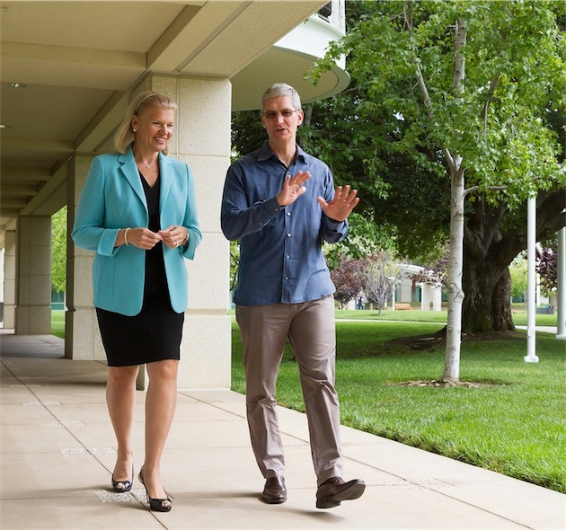 Ginni Rometty (CEO d'IBM) et Tim Cook. Image Apple.