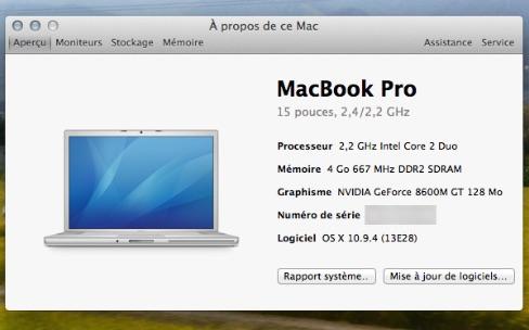 Le MacBook Pro Retina 2014 mal référencé dans les Informations système