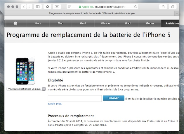 Programme Remplacement Batterie Iphone S