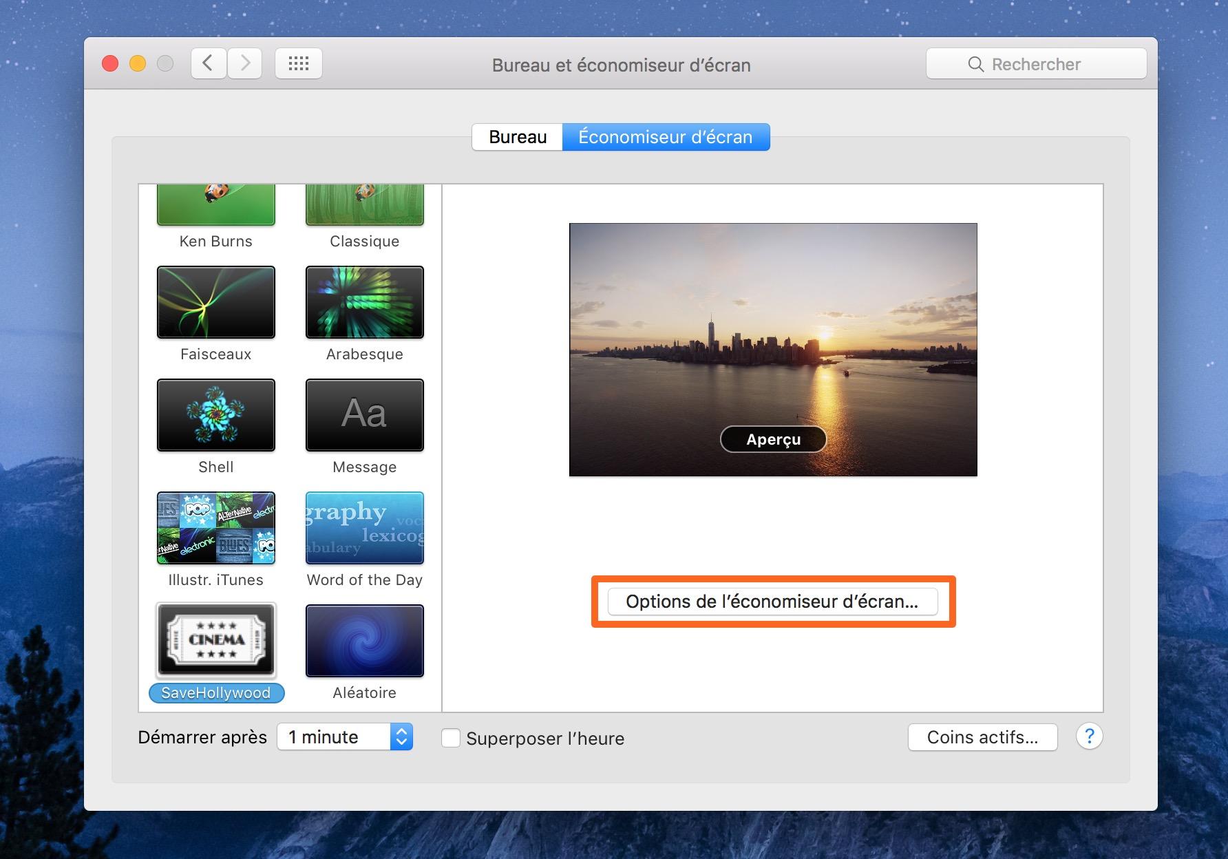 Astuce les conomiseurs d cran de l apple tv sur votre for Mac fenetre hors ecran