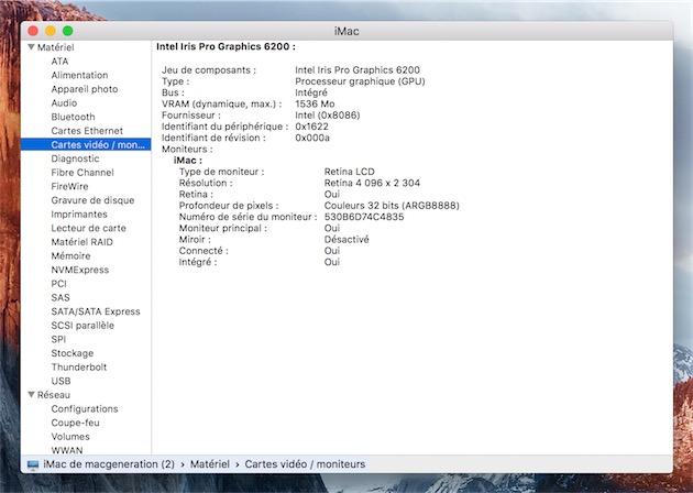Les informations système d'un iMac Retina 4K fin 2015 sous OS X 10.11.1. L'écran déclare coder les couleurs sur huit bits.