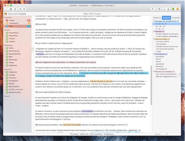 Le filtre de correction stylistique, qui signale ici des compléments en cascade (en bleu), des constructions passives (en rose) ou encore des tournures impersonnelles (en orange).
