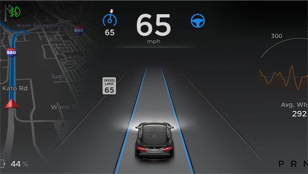 L'écran affiché sous les yeux du conducteur en mode pilotage automatique