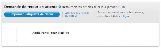 Une fois le retour programmé, le statut de l'article passe à Demande de retour en attente. Si le statut passe à Demande de retour expirée alors que le transporteur est bien passé, contactez au plus vite le service client de l'Apple Store en ligne.