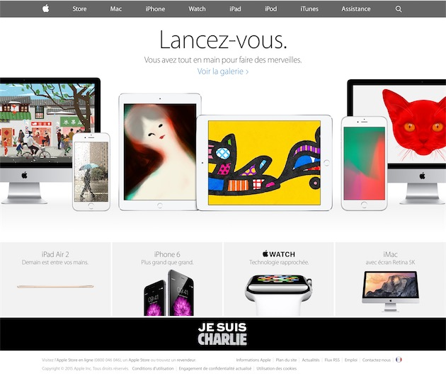 La page d'accueil du site français d'Apple, le 8 janvier 2015.