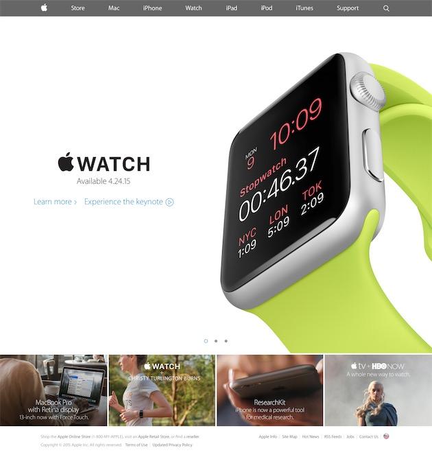 La présentation de l'Apple Watch, au soir du 9 mars 2015, a été l'occasion d'utiliser pour la première fois de l'année un système de carrousel.