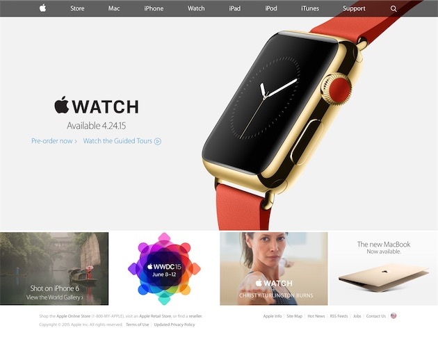 Ce carrousel a rapidement disparu, ce qui laissait penser qu'il ne serait utilisé que de manière ponctuelle, comme les années passées. Il était alors impossible d'échapper à l'Apple Watch, présentée sous différents aspects, comme ici le 15 avril 2015.