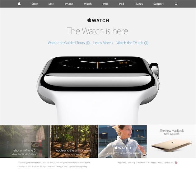 Ou ici lors de sa commercialisation le 24 avril 2015. L'une des miniatures montre le dernier billet de blog de Christy Burlington-Burns, VRP de luxe pour Apple8.