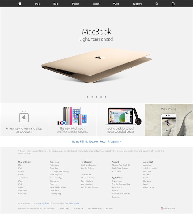 Le nouveau pied de page, ici avec la promotion pour le MacBook et la section «Pourquoi l'iPhone», le 12 août 2015.