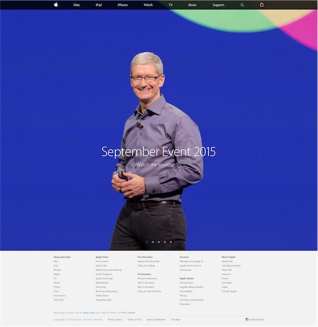 La page d'accueil très minimaliste du début septembre 2015.