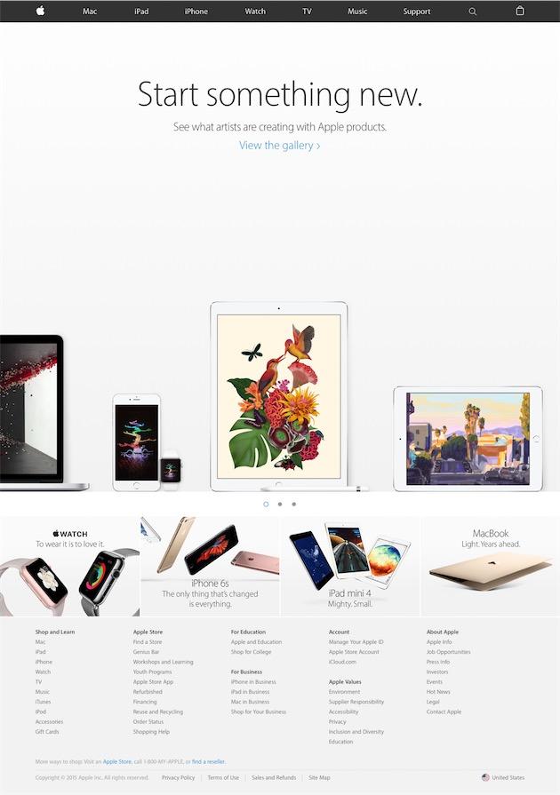 La dernière page d'accueil du site d'Apple pour 2015, mise en ligne le 29 décembre.