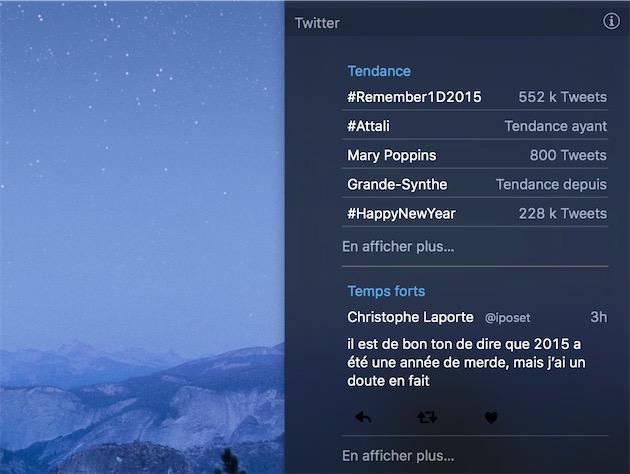 L'une des nouveautés de Twitter4: ce widget pour le Centre de notifications avec les «Tendance» et des «Temps forts» puisés dans votre timeline.