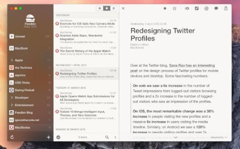 Lecteur RSS : Reeder bientôt plus transparent