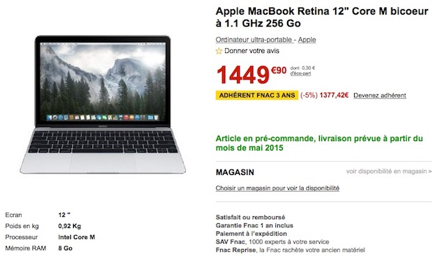 mac  les macbook en precommande la fnac avec de reduction