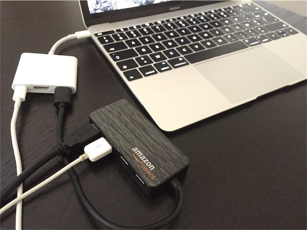 Nous avons branché un hub USB 3.0 AmazonBasics au port USB standard de  l\u0027adaptateur pour voir s\u0027il était possible de multiplier la connectique  ainsi.