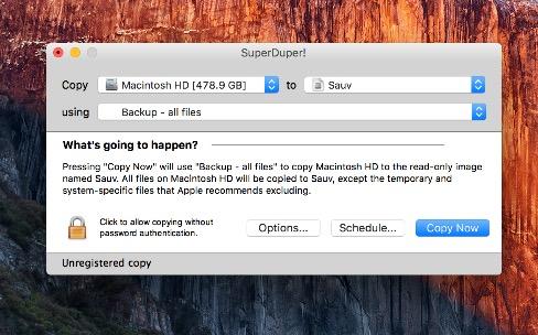 SuperDuper s'accommode mal d'OSX El Capitan
