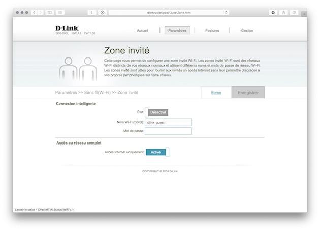 Ne désactivez pas Smart Connect pour créer un réseau séparé pour vos invités : le D-Link DIR-890L propose une « zone invité » séparée du reste de votre réseau.