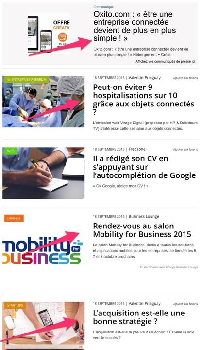 Extrait d'une home page d'un site d'actualité, 4 des 5 articles sont soit une publicité, soit réalisé avec un partenaire soit sponsorisé