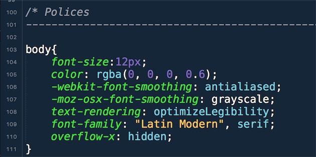 Extrait de code CSS avec deux préfixes spécifiques à un navigateur. Ligne 106, la ligne commence avec le préfixe -webkit spécifique à ce moteur d'affichage et aux navigateurs qui l'exploitent. Ligne 107, c'est un préfixe exclusif à Firefox sous OS X qui est utilisé.