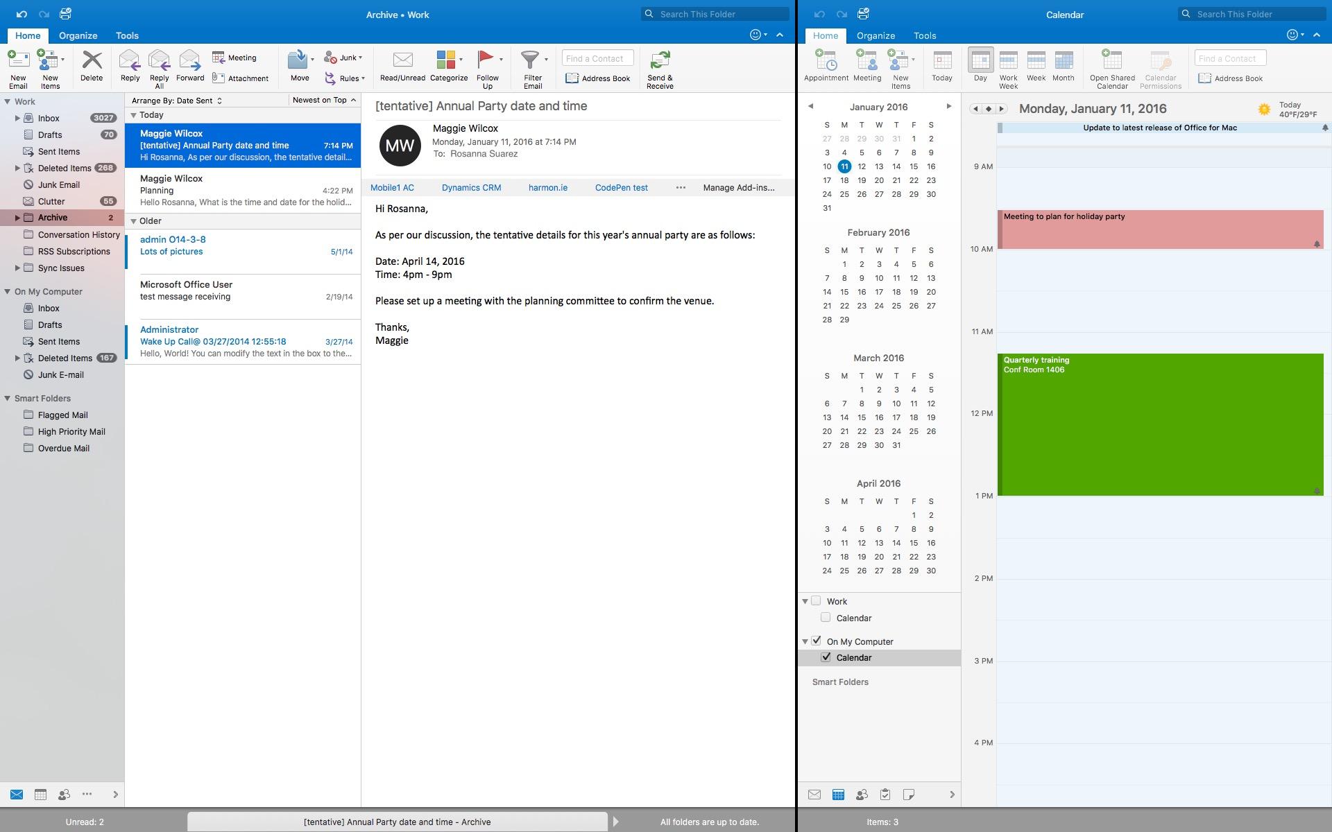 Outlook 2016 se met au plein cran sur os x macgeneration for Photo ecran osx