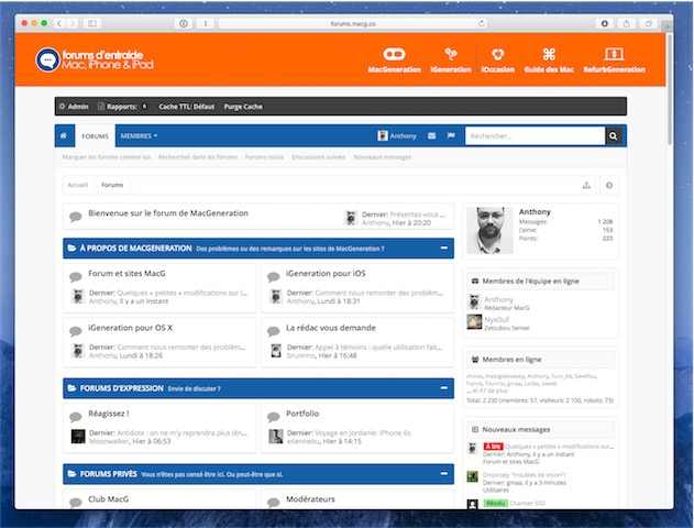 La nouvelle page d'accueil du forum de MacGeneration.