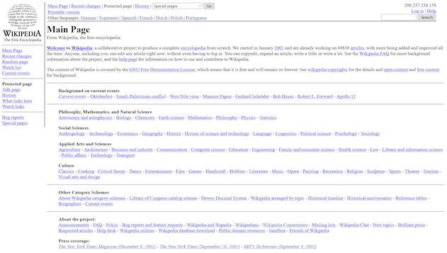 Wikipedia en 2002. La première année, l'encyclopédie ouvrait sur cet article nommé «Home page». À cette époque, il y avait moins de 50000entrées dans l'encyclopédie.