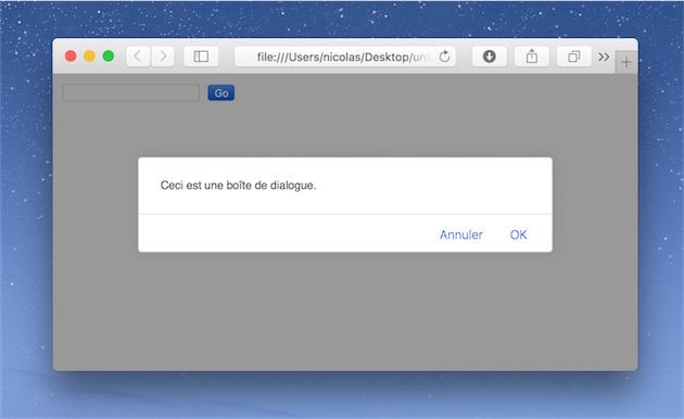 La boîte de dialogue bloque non plus le navigateur, mais la page. On ne peut plus interagir avec le site, mais on peut changer d'onglet sans problème.