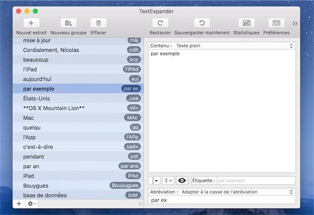 Les réglages de TextExpander permettent de lister tous les raccourcis, et de les modifier si on le souhaite.