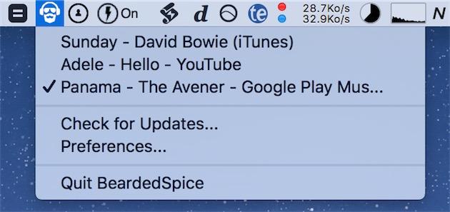 BeardedSpice en action, ici pour contrôler trois sources différentes : iTunes, et deux onglets, l'un avec une vidéo YouTube et l'autre avec Google Play Music. La marque indique la source actuellement sélectionnée pour le contrôle.