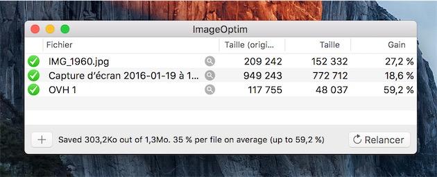 ImageOptim a permis de gagner 300 Ko sur ces trois fichiers, et l'une des images a vu son poids divisé par plus de deux dans l'opération !