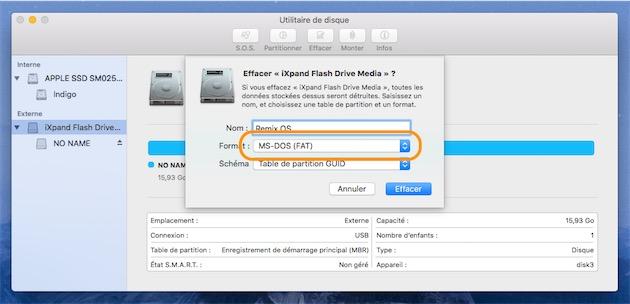 La clef USB doit être formatée en FAT32, une des rares opérations que vous pouvez encore réaliser dans l'Utilitaire de disque.