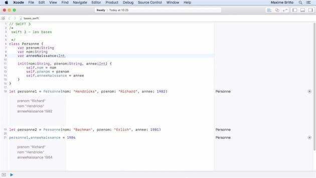 Extrait de la formation, avec un exemple concret dans le PlayGround de Xcode. Cliquer pour agrandir