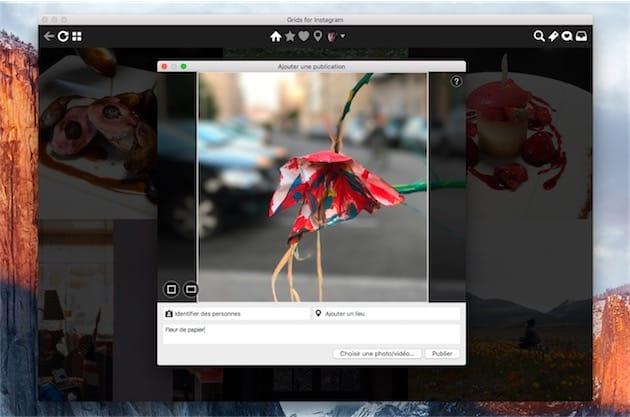 Publication d'une photo sur Instagram avec Grids. Cliquer pour agrandir