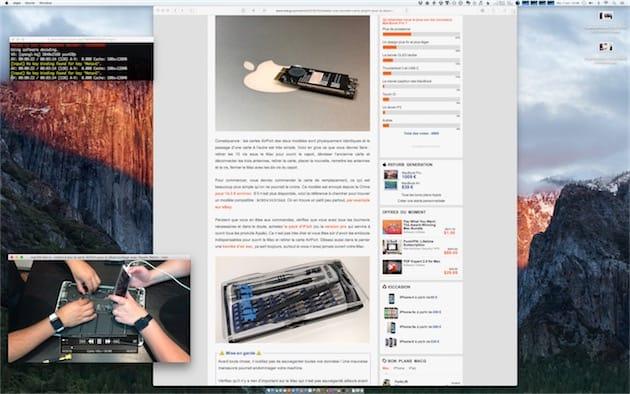 Une vidéo YouTube en cours de lecture avec mpv en bas à gauche de l'écran. En haut à gauche, le terminal indispensable à son bon fonctionnement. Cliquer pour agrandir