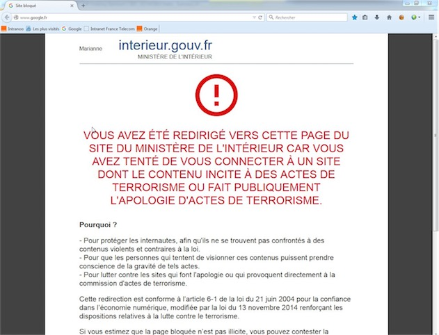 Le ministère de l'Intérieur trouve que Google fait l'apologie du terrorisme, mais uniquement chez Orange (via).