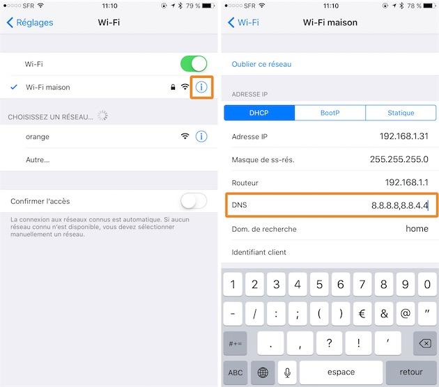Dans les Réglages de votre appareil iOS, ouvrez la section dédiée au Wi-Fi et touchez le bouton i au niveau de votre réseau sans fil. Touchez ensuite la ligne DNS et ajoutez 8.8.8.8,8.8.4.4. Revenez en arrière pour confirmer le changement. Cliquer pour agrandir