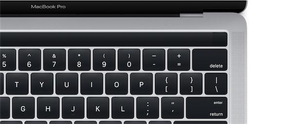 À droite, le capteur Touch ID. Le bandeau devrait être un écran OLED: au repos, il sera aussi noir que les touches qui l'entourent.