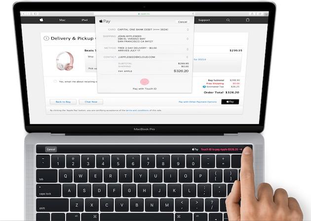 La «Magic Toolbar»intègre un capteur Touch ID à la place actuelle du bouton d'allumage. Il est ici utilisé pour valider un paiement Apple Pay.