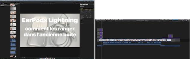 Final Cut Pro 10.3 sur deux écrans, dont l'un est dédié à la timeline. Cliquer pour agrandir