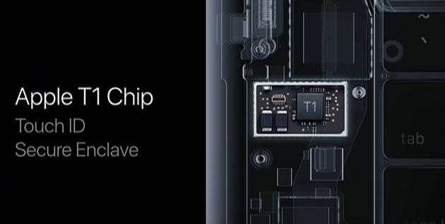 Pour fonctionner, la TouchBar nécessite une nouvelle puce, nommée AppleT1, qui intègre notamment l'enclave sécurisée indispensable à TouchID. Cliquer pour agrandir