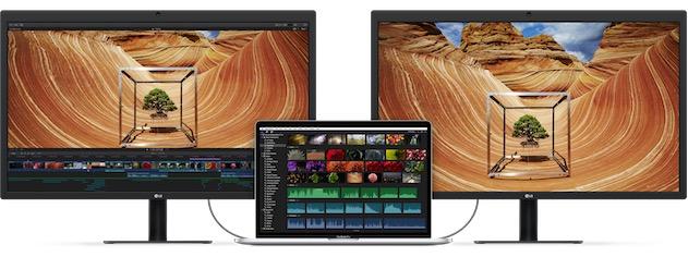 L'un de ces deux écrans alimente aussi le MacBookPro au milieu. Cliquer pour agrandir