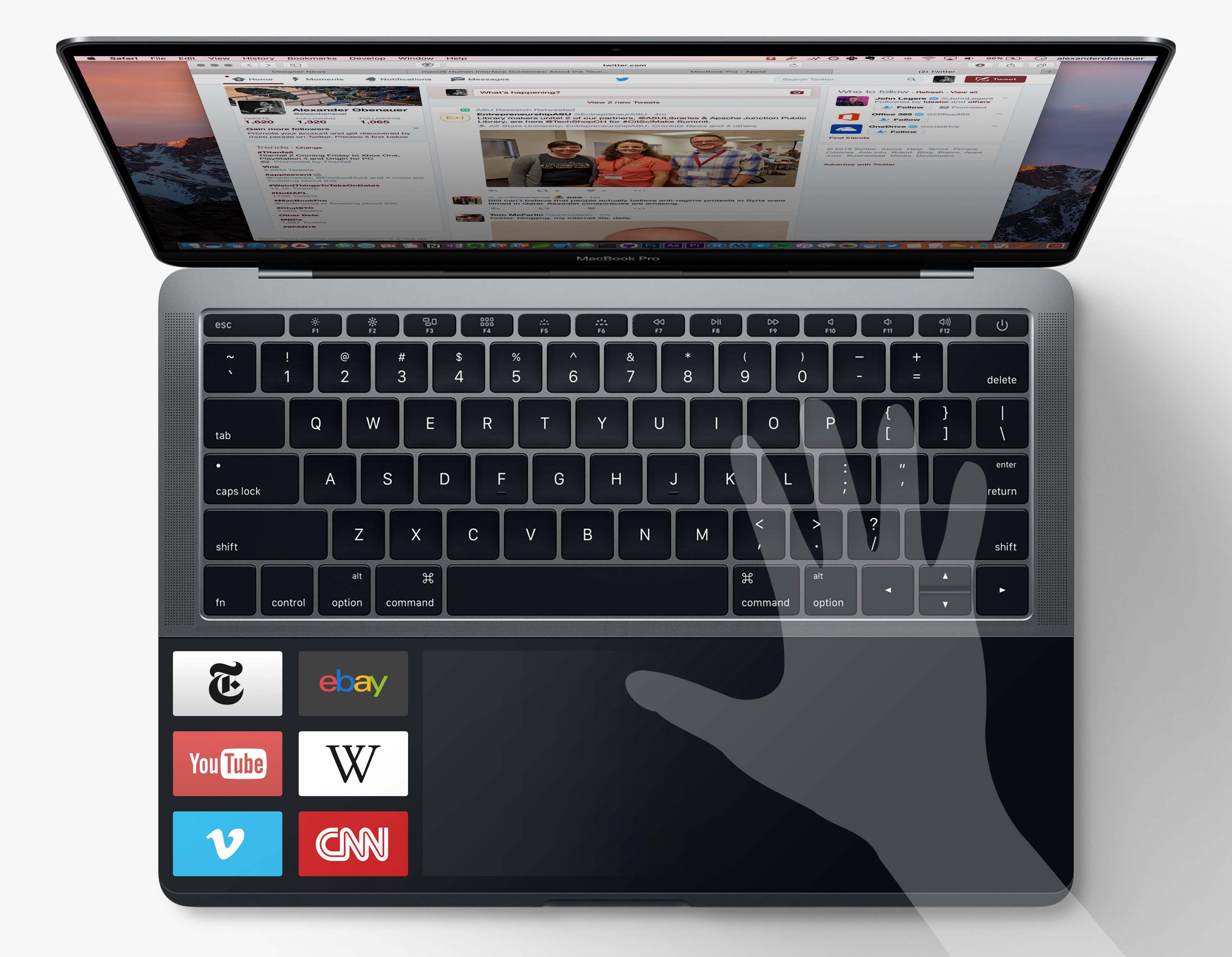 Concept et si la touch bar occupait tout l espace sous for Les parties du clavier