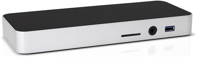 Sur la face avant, un port USB A, une sortie et entrée audio et un lecteur de carte SD. Cliquer pour agrandir