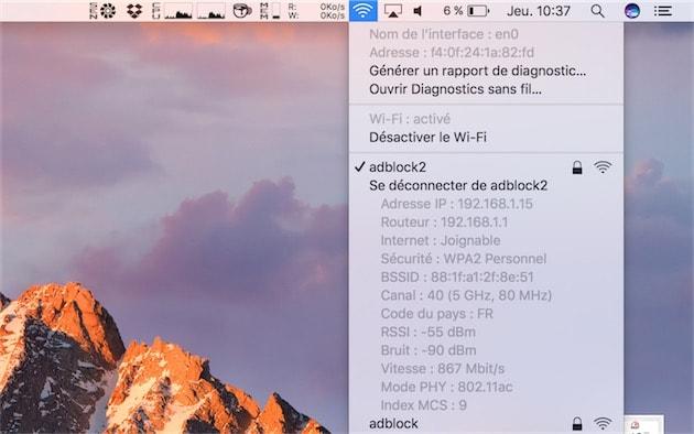 macOS est formel: au maximum, le Macbook Pro 13pouces se connectera en Wi-Fi à 867Mbit/s. Une vitesse théorique nettement inférieure par rapport aux Mac portables précédents qui pouvaient atteindre 1,3Gbit/s. Cliquer pour agrandir